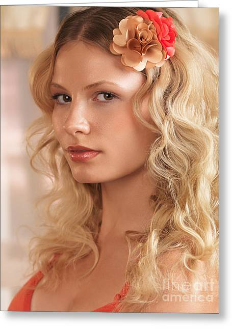 Beauty Care Greeting Cards - Beauty portrait of a woman with floral hairpiece in blond hair Greeting Card by Oleksiy Maksymenko