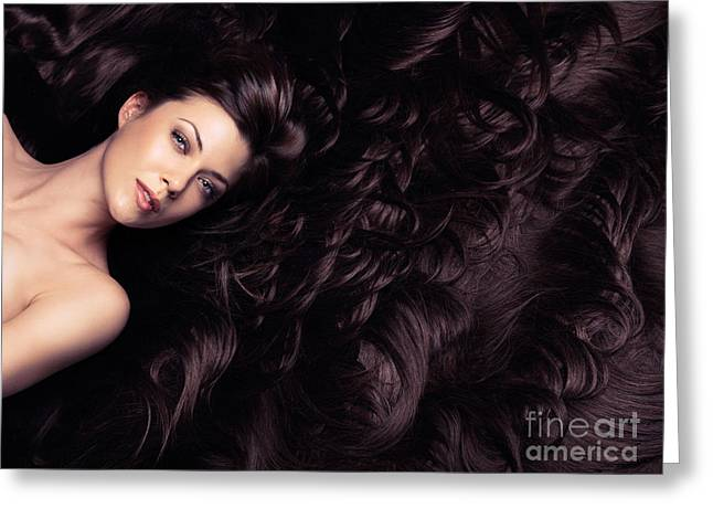 Wavy Hair Greeting Cards - Beauty portrait of woman surrounded by long brown hair  Greeting Card by Oleksiy Maksymenko