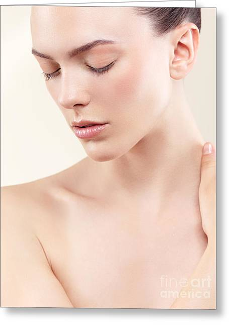 Natural Makeup Greeting Cards - Beauty portrait of young woman with clean natural skin closed ey Greeting Card by Oleksiy Maksymenko