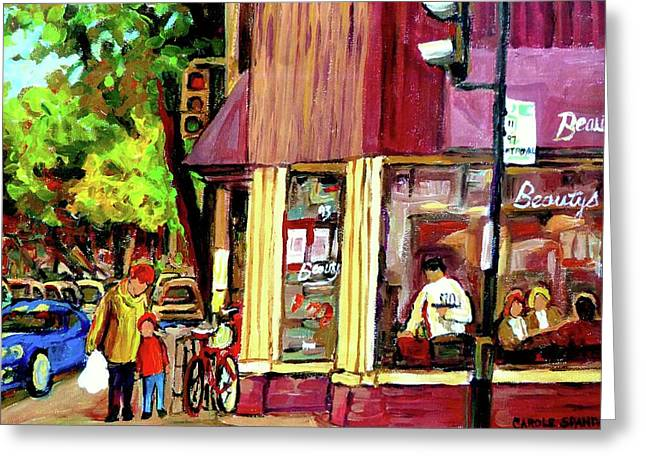 Main Street Greeting Cards - Beautys Luncheonette Montreal Diner Greeting Card by Carole Spandau