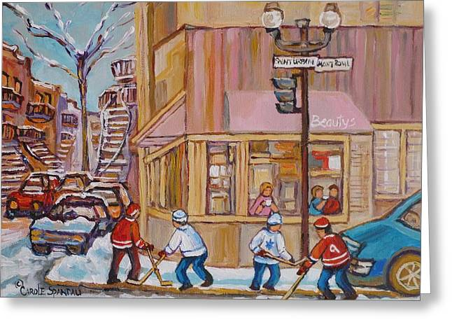 Montreal Hockey Scenes Greeting Cards - Beautys Restaurant  Greeting Card by Carole Spandau