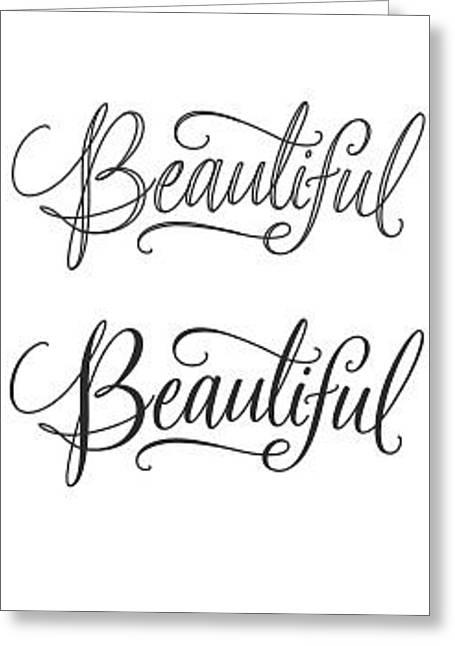 Bold Style Greeting Cards - Beauul Lettering - Ai Greeting Card by Gillham Studios