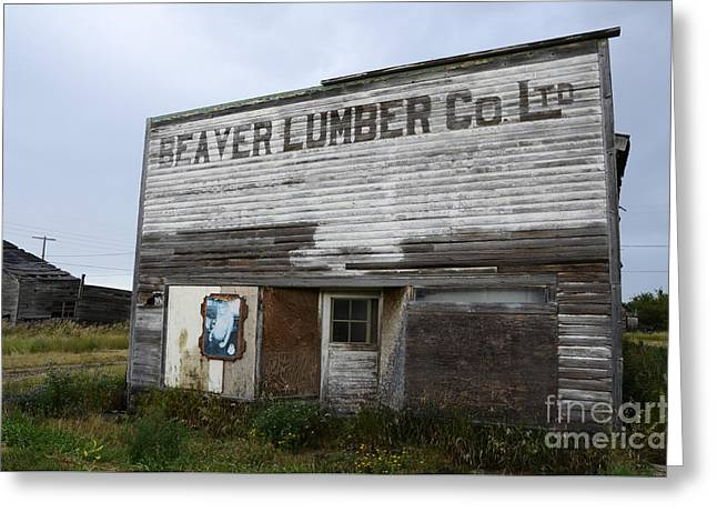 Historical Buildings Greeting Cards - Beaver Lumber Company Ltd Robsart Greeting Card by Bob Christopher