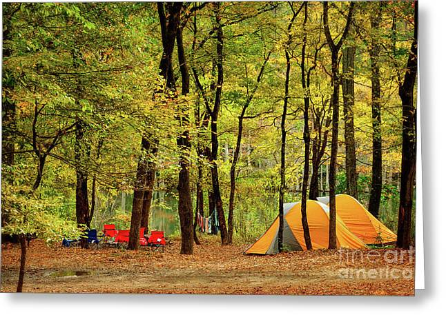 Beaver's Bend Camping Greeting Card by Tamyra Ayles