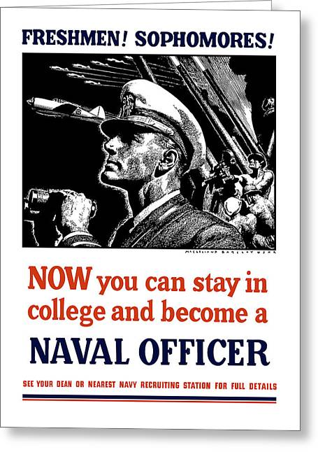 United States Greeting Cards - Become A Naval Officer Greeting Card by War Is Hell Store