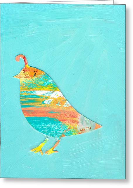 Nature Abstract Paintings Greeting Cards - Becoming Quail Greeting Card by Jennifer Lommers