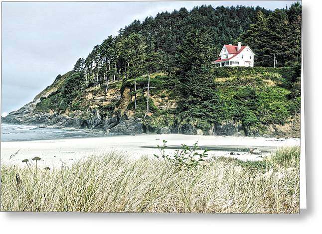 Oregon Lighthouse Image Greeting Cards - Bed and Breakfast Greeting Card by Bonnie Bruno