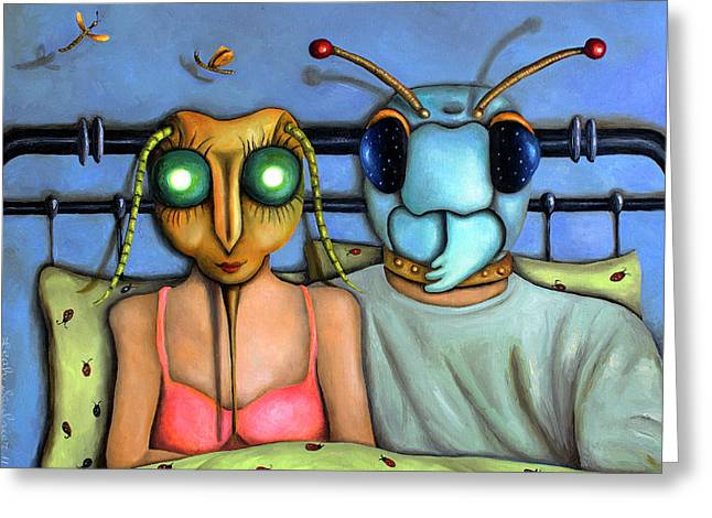 Dragon Lady Greeting Cards - Bed Bugs Greeting Card by Leah Saulnier The Painting Maniac