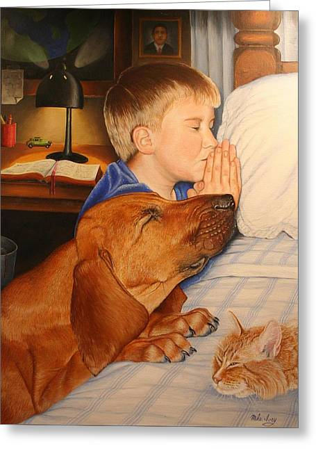 Protrait Greeting Cards - Bed Time Prayers Greeting Card by Mike Ivey