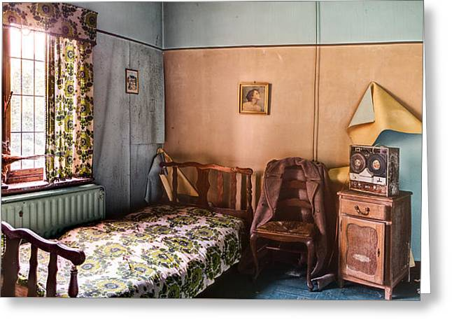 Abandoned House Greeting Cards - Bed waiting walls weeping - urban decay Greeting Card by Dirk Ercken
