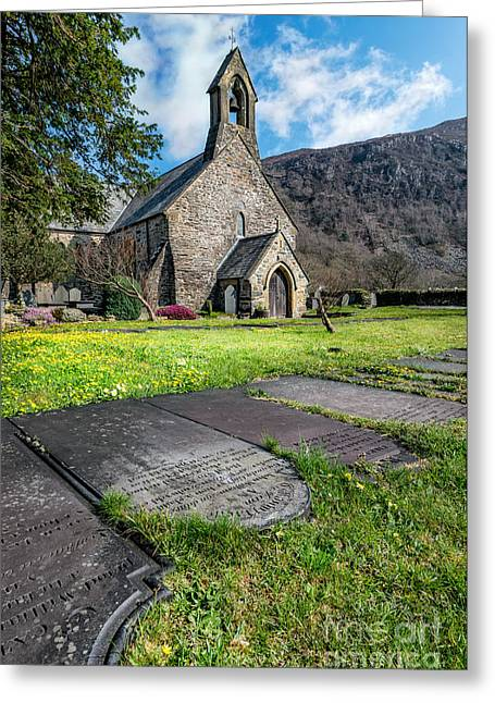 Churchyard Greeting Cards - Beddgelert Church Greeting Card by Adrian Evans