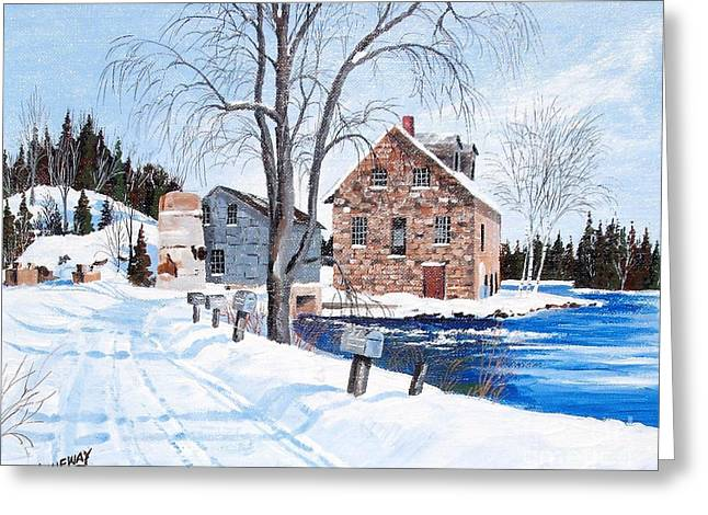 Buttermilk Falls Paintings Greeting Cards - Bedford Mills Greeting Card by Jim Janeway
