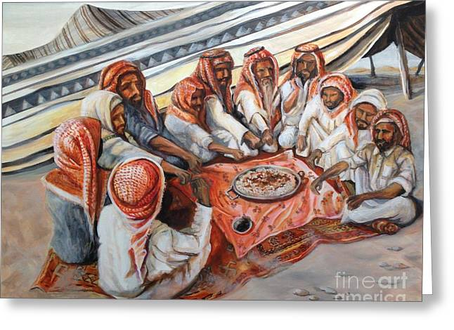 Bedouin At Dusk Greeting Card by Yvonne Ayoub