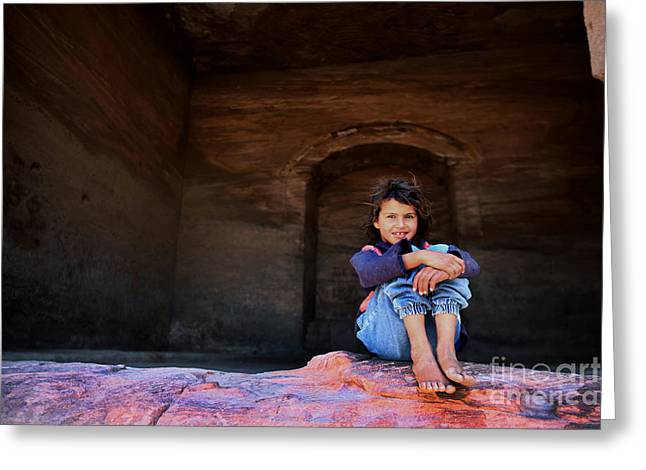 Jordan Greeting Cards - Bedouin girl Greeting Card by Michael Nelson