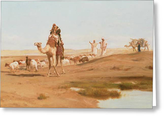 Bedouin in the Desert Greeting Card by Frederick Goodall