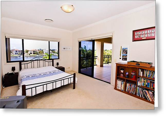 Sliding Glass Door Greeting Cards - Bedroom and Balcony Greeting Card by Darren Burton