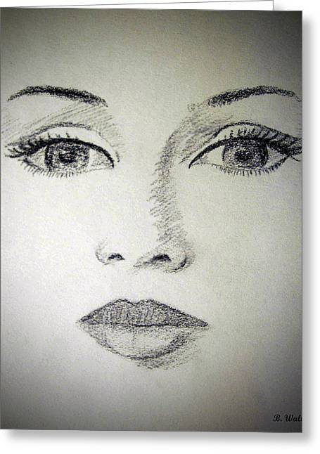 Eyebrow Drawings Greeting Cards - Bedroom Eyes Greeting Card by Brian Wallace