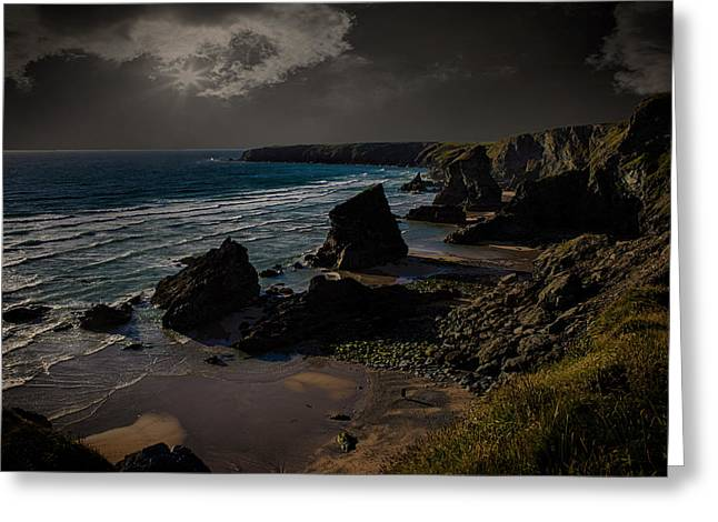 Bedruthan Cornwall Greeting Card by Martin Newman