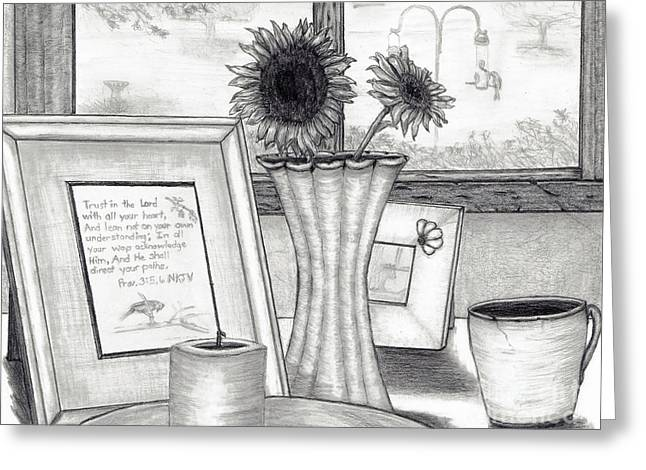 Window Of Life Drawings Greeting Cards - Bedside View Greeting Card by Joy Neasley
