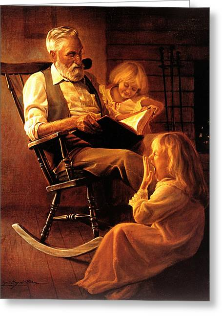 Kids Books Paintings Greeting Cards - Bedtime Stories Greeting Card by Greg Olsen