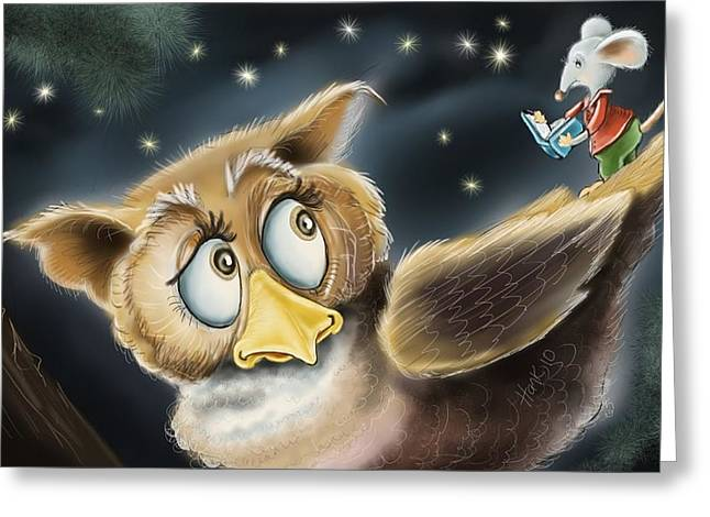 Fantasy Owl Greeting Cards - Bedtime Story Greeting Card by Hank Nunes