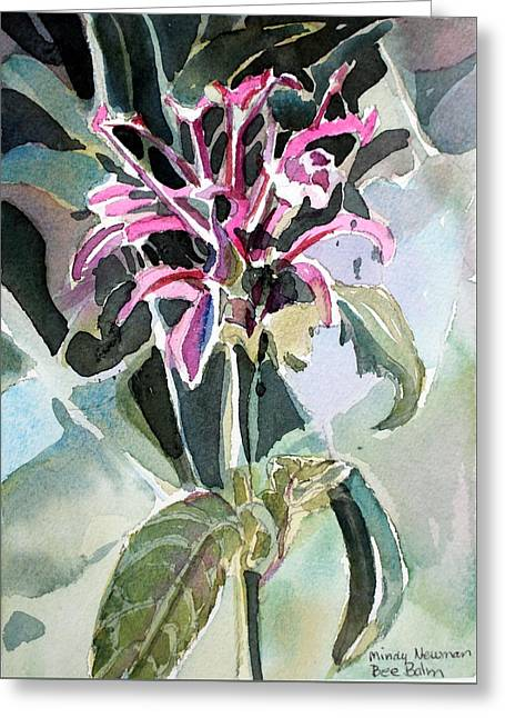 Bee Balm Greeting Card by Mindy Newman