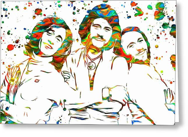 1970s Music Greeting Cards - Bee Gees Paint Splatter Greeting Card by Dan Sproul