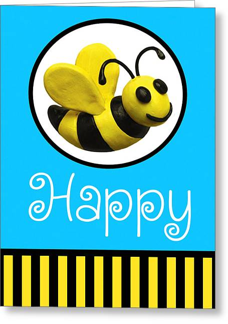 Cute Mixed Media Greeting Cards - Bee Happy Greeting Card by Amy Vangsgard