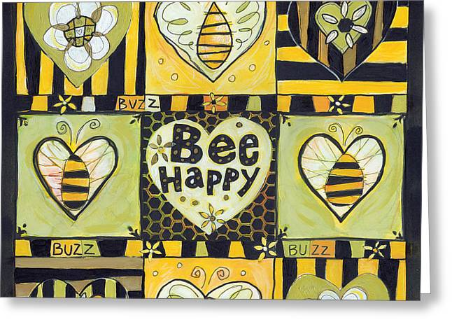 Bee Happy Greeting Card by Jen Norton