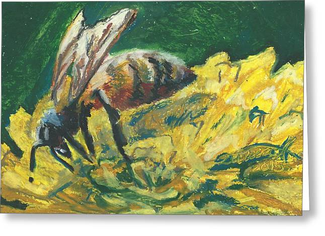 Impressionist Greeting Cards - Bee in the Garden Greeting Card by Darya Tyshlek