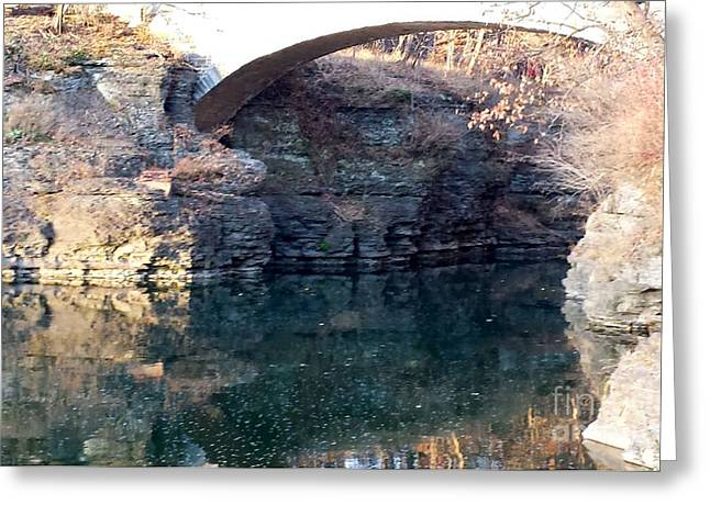 Ithaca Greeting Cards - Beebe Lake Stone Bridge in color Greeting Card by Hyoye S
