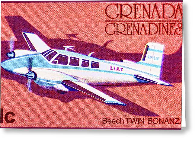 Paper Airplanes Paintings Greeting Cards - Beech Twin Bonanza Airplane Greeting Card by Lanjee Chee