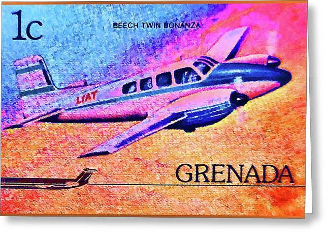 Paper Airplanes Paintings Greeting Cards - Beech Twin Bonanza Greeting Card by Lanjee Chee
