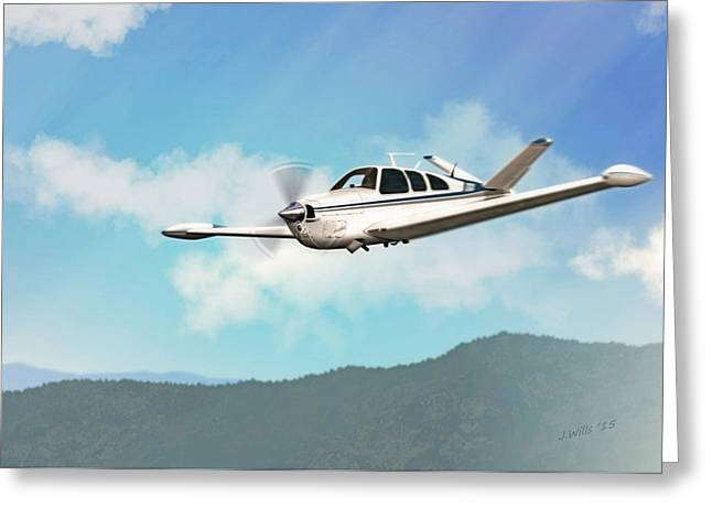Civilians Greeting Cards - Beechcraft Bonanza V Tail Greeting Card by John Wills