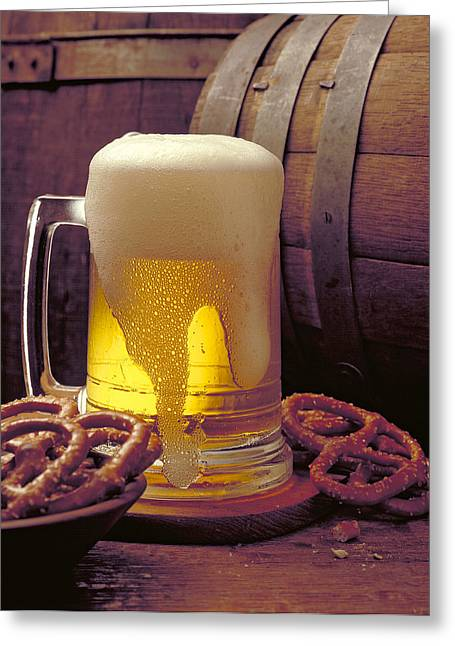 Stein Greeting Cards - Beer and Pretzels Greeting Card by Thomas Firak