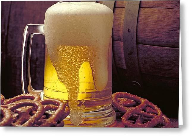 Beer and Pretzels Greeting Card by Thomas Firak