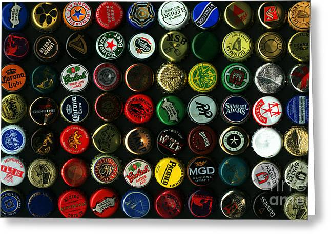 Samuel Greeting Cards - Beer Bottle Caps . 9 to 16 Proportion Greeting Card by Wingsdomain Art and Photography