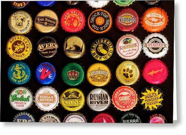 Bottle Cap Greeting Cards - Beer Bottle Caps Greeting Card by Jarrod Erbe