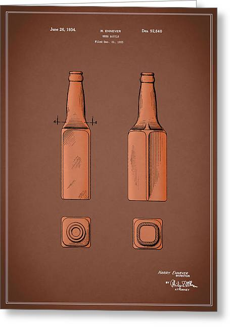 Beer Bottle Patent 1934 Greeting Card by Mark Rogan