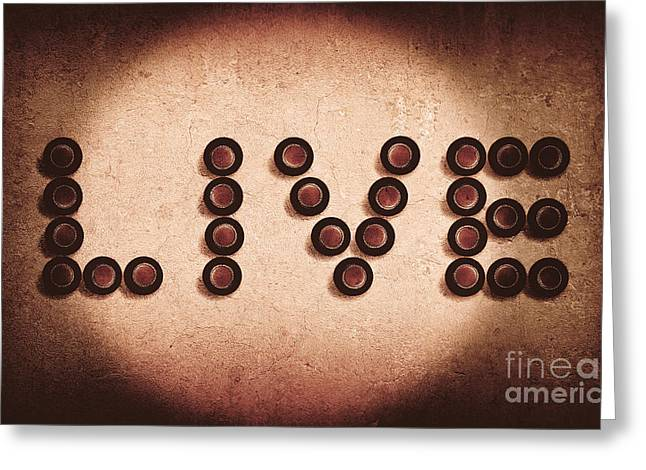 Birdseye Greeting Cards - Beer bottles spelling out the word live Greeting Card by Ryan Jorgensen
