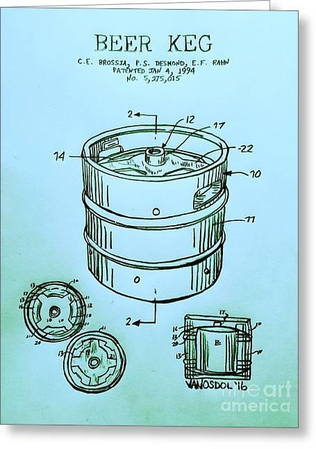 Beer Keg 1994 Patent - Blue Greeting Card by Scott D Van Osdol