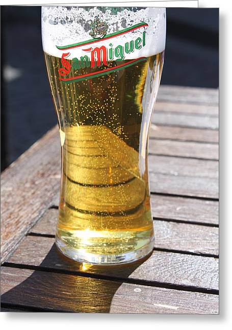Bar San Miguel Greeting Cards - Beer Shadows Greeting Card by Lauri Novak