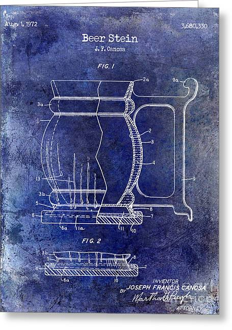 Stein Greeting Cards - Beer Stein Patent Blue Greeting Card by Jon Neidert
