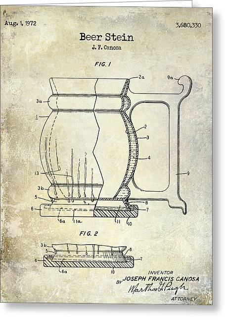 Stein Greeting Cards - Beer Stein Patent Greeting Card by Jon Neidert