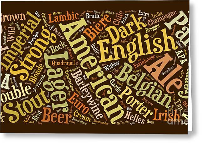 Beer Word Cloud Greeting Card by Edward Fielding