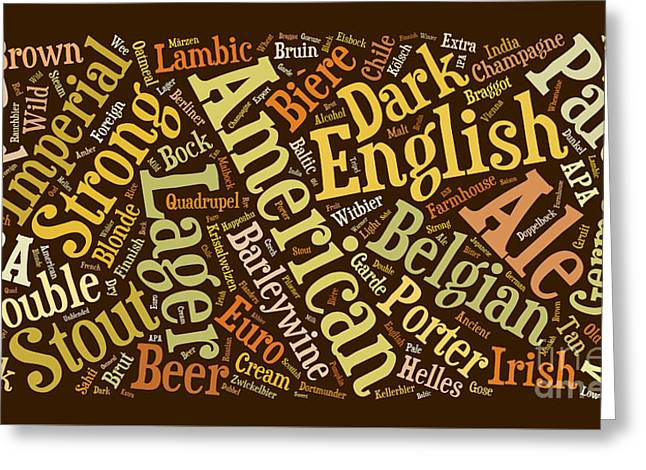 Berliner Pilsner Photographs Greeting Cards - Beer Word Cloud Greeting Card by Edward Fielding
