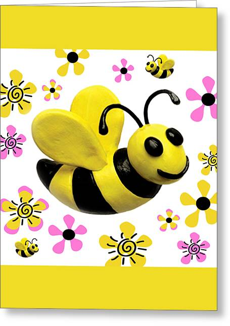Flying Animal Greeting Cards - Bees and Flowers Square Greeting Card by Amy Vangsgard