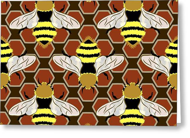At Work Greeting Cards - Bees and Honeycomb Pattern Greeting Card by MM Anderson