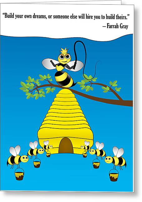 Motivational Poster Greeting Cards - Bees Greeting Card by Tiberiu Tuta