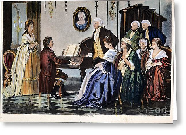 Schoolmistress Greeting Cards - Beethoven & Mozart, 1787 Greeting Card by Granger